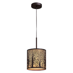 ELK Lighting One Light Aged Bronze Drum Shade Mini Pendant