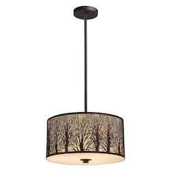 ELK Lighting Three Light Aged Bronze Drum Shade Pendant