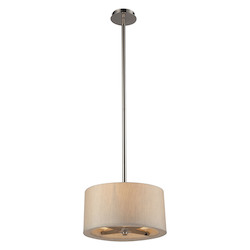 ELK Lighting Three Light Polished Nickel Drum Shade Pendant