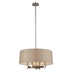 ELK Lighting Four Light Polished Nickel Drum Shade Chandelier