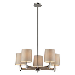 ELK Lighting Five Light Polished Nickel Drum Shade Chandelier