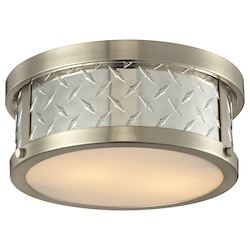 ELK Lighting Diamond Plate Collection 2 Light Flush Mount In Brushed Nickel