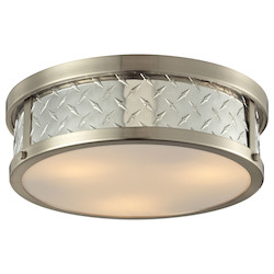ELK Lighting Diamond Plate Collection 3 Light Flush Mount In Brushed Nickel