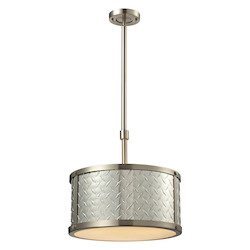 ELK Lighting Diamond Plate Collection 3 Light Pendant In Brushed Nickel