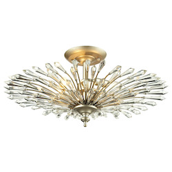 ELK Lighting Viva Collection 3 Light Semi Flush In Aged Silver