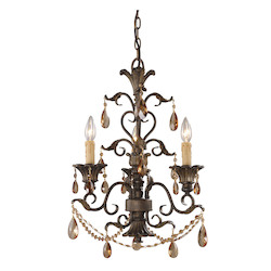 ELK Lighting Three Light Weathered Mahogany Ironwork Up Chandelier