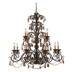 ELK Lighting Twelve Light Weathered Mahogany Ironwork Up Chandelier