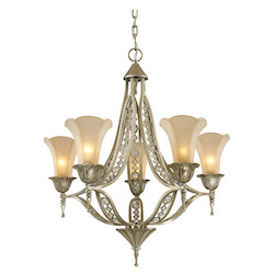 ELK Lighting Five Light Aged Silver Up Chandelier