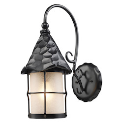 ELK Lighting One Light Matte Black Scavo Glass Wall Lantern