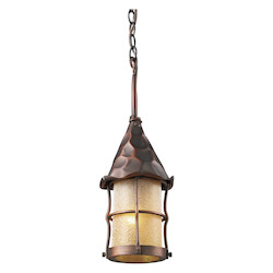 ELK Lighting One Light Antique Copper Amber Scavo Glass Hanging Lantern