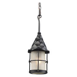 ELK Lighting One Light Matte Black Scavo Glass Hanging Lantern