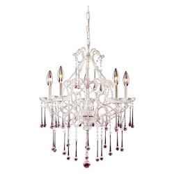 ELK Lighting Five Light Antique White Up Chandelier
