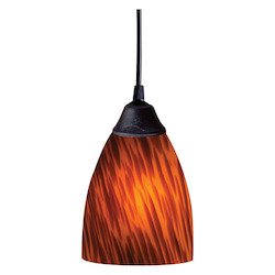 ELK Lighting One Light Dark Rust Espresso Glass Down Pendant