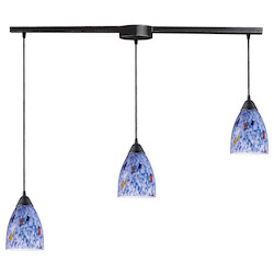 ELK Lighting Three Light Dark Rust Starlight Blue Glass Multi Light Pendant
