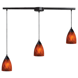 ELK Lighting Three Light Dark Rust Espresso Glass Multi Light Pendant