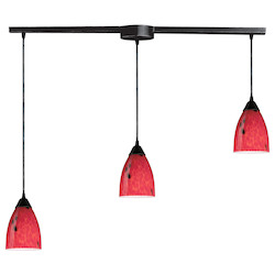 ELK Lighting Three Light Dark Rust Fire Red Glass Multi Light Pendant