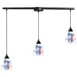 ELK Lighting Three Light Dark Rust Mountain Glass Multi Light Pendant