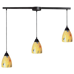 ELK Lighting Three Light Dark Rust Yellow Blaze Glass Multi Light Pendant