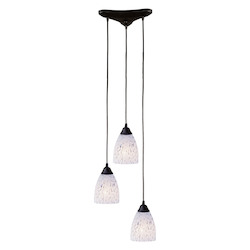 ELK Lighting Three Light Dark Rust Show White Glass Multi Light Pendant