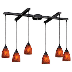 ELK Lighting Six Light Dark Rust Espresso Glass Multi Light Pendant