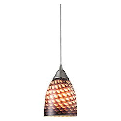 ELK Lighting One Light Satin Nickel Coco Glass Down Pendant
