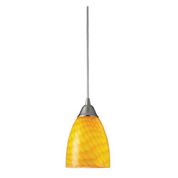 ELK Lighting One Light Satin Nickel Canary Glass Down Mini Pendant