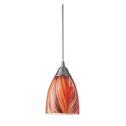 ELK Lighting One Light Satin Nickel Multi Glass Down Mini Pendant