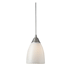 ELK Lighting One Light Satin Nickel White Swirl Glass Down Mini Pendant