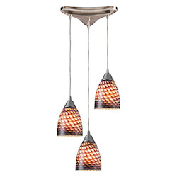 ELK Lighting Three Light Satin Nickel Coco Glass Multi Light Pendant