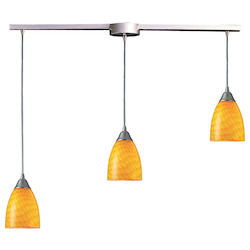 ELK Lighting Three Light Satin Nickel Canary Glass Multi Light Pendant