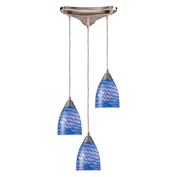 ELK Lighting Three Light Satin Nickel Sapphire Glass Multi Light Pendant