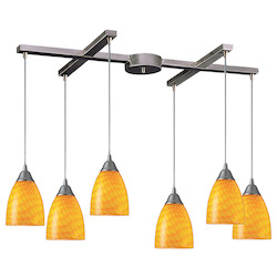 ELK Lighting Six Light Satin Nickel Canary Glass Multi Light Pendant
