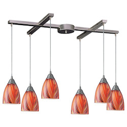 ELK Lighting Six Light Satin Nickel Multi Glass Multi Light Pendant