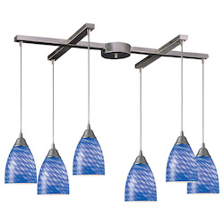 ELK Lighting Six Light Satin Nickel Sapphire Glass Multi Light Pendant