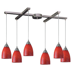 ELK Lighting Six Light Satin Nickel Scarlet Red Glass Multi Light Pendant