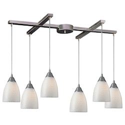 ELK Lighting Six Light Satin Nickel White Swirl Glass Multi Light Pendant