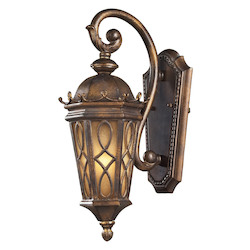 ELK Lighting One Light Hazlenut Bronze Amber Scavo Glass Wall Lantern