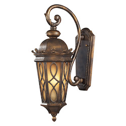 ELK Lighting Two Light Hazlenut Bronze Amber Scavo Glass Wall Lantern