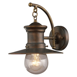 ELK Lighting One Light Hazlenut Bronze Clear Seeded Glass Wall Lantern