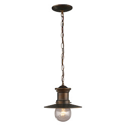ELK Lighting One Light Hazlenut Bronze Clear Seeded Glass Down Pendant