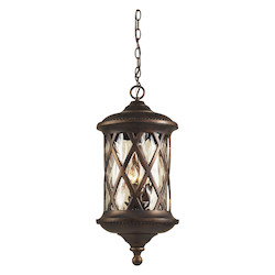 ELK Lighting Three Light Hazlenut Bronze Designer Water Glass Hanging Lantern