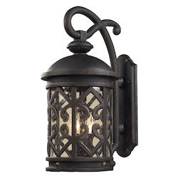 ELK Lighting Two Light Weathered Charcoal Clear Seeded Glass Wall Lantern