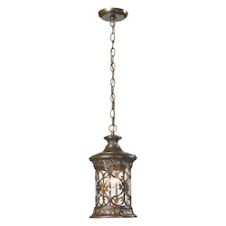 ELK Lighting Orlean Collection 1 Light Outdoor Pendant In Hazelnut Bronze