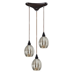 ELK Lighting Three Light Oiled Bronze Multi Light Pendant