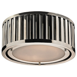 ELK Lighting Linden Collection 2 Light Flush Mount In Polished Nickel