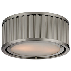 ELK Lighting Linden Collection 2 Light Flush Mount In Brushed Nickel