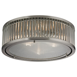 ELK Lighting Linden Collection 3 Light Flush Mount In Brushed Nickel