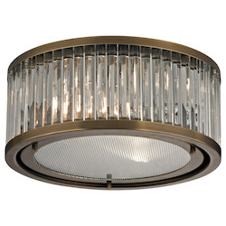 ELK Lighting Linden Collection 2 Light Flush Mount In Aged Brass