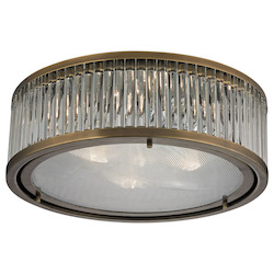 ELK Lighting Linden Collection 3 Light Flush Mount In Aged Brass