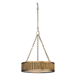 ELK Lighting Linden Collection 3 Light Pendant In Aged Brass